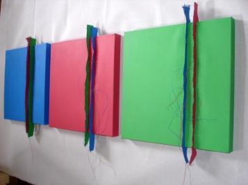 blauw rood groen schilderijen